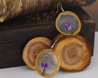 Boucle d'oreille jardin d'eau violette nature forêt bohème gypsie gitan