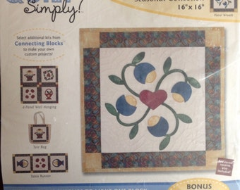 """Quilt Simply Connecting Blocks Kit 16"""" x 16"""" - Seasonal Collection Floral Wreath"""