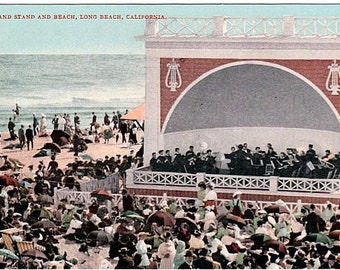 Antique California Postcard - Beachgoers and a Band Concert at Long Beach (Unused)