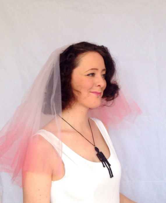 Dip dyed wedding veil - Pink veil - Hen party veil - Mermaid Veil - Alternative veil - Ombre veil