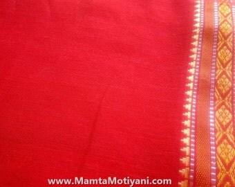Indian Cotton Sari Fabric By The Yard, Bright Saree Fabric, Red Indian Sari, Handloom Fabric, Ethnic Fabric, Block Printed Indian Fabrics