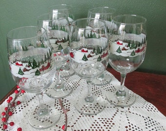 Winter Scene Goblets Vintage Set of 6