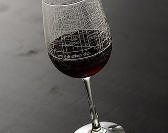 Washington DC Map Wine Glass