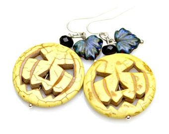 FALL SALE Halloween Pumpkin Earrings Yellow Jack O Lantern Spooky Silver Dangles Funky Fun Fall Autumn Hallows Eve Festival by Mei Faith