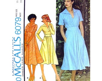 1970s Vintage Dress Pattern McCalls 6079 Bust 38 Bias Cut Pullover Dress Long or Short Sleeves Sash Womens Sewing Pattern UNCUT