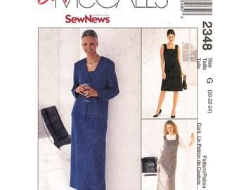 Square Neck Dress & Unlined Jacket Pattern McCalls 2348 Plus Size 20 22 24 Jumper Above Ankle Sleeveless Dress Women Sewing Pattern UNCUT