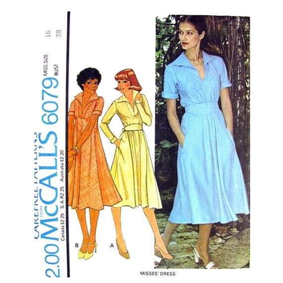 Vintage 70s Bias Dress Pattern McCalls 6079 Long or Short Sleeves Sash Bust 38