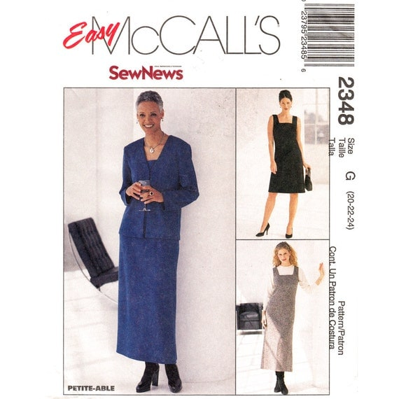 Square Neck Dress Unlined Jacket Pattern McCalls 2348 Womens Plus Size 20 22 24
