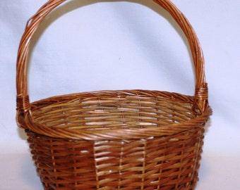Oval Shaped Wicker Basket with Handle, Wicker Basket, Woven Basket, Oval Basket