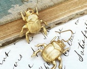 Gold Beetle EARRINGS Nature Study Victorian Scarab Bug Jewelry Wes Anderson Inspired Jewelry