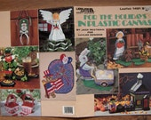 vintage 1991 plastic canvas patterns For the Holidays seasonal Easter Christmas valentines, Thanksgiving Halloween July 1st  St. Patricks