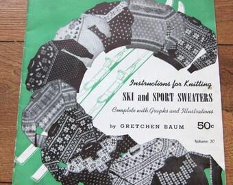 VINTAGE 1948 knitting patterns SCANDINAVIAN SWEATERS  by Gretchen Baum