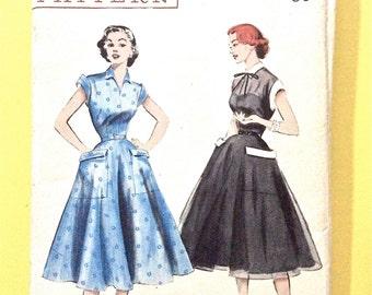 1950s Butterick 6629 OnePiece Dress cuffs  2 piece flared skirt short sleeves Vintage Sewing Pattern Bust 32