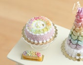 Rainbow Blossoms Cake - Pink (Rainbow Collection) - Miniature Food for Dollhouse 12th scale 1:12