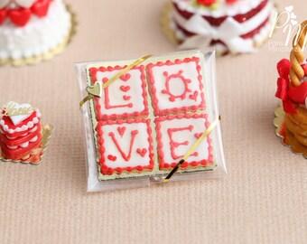 "MTO -Sachet of Miniature ""L-O-V-E"" Letter Iced Cookies - 1/12 scale miniature dollhouse food"