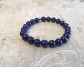CLEARANCE SALE Blue Stretch Bracelet, Gemstone Stacking Bracelet, Lapis Lazuli