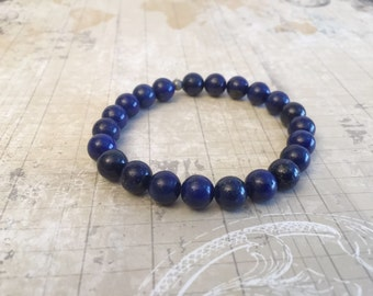 Blue Stretch Bracelet, Gemstone Stacking Bracelet, Lapis Lazuli