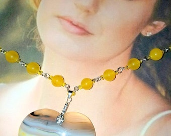 Beautiful Unique Yellow Onyx Druzy Geode Agate Heart Pendant  with Yellow Jade Necklace