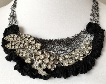 Knitted Wire Necklace with Rhinestones