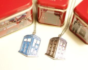 Tardis Charm Necklace, Tardis necklace, Police Box, Dr Who necklace, Doctor Who, Dr Who charm, BBC, SciFi, geeky jewelry, Geronimo, Tv