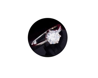 Sterling Silver CZ  Ring -  Faceted  Cubic Zirconia  Ring - Size 8