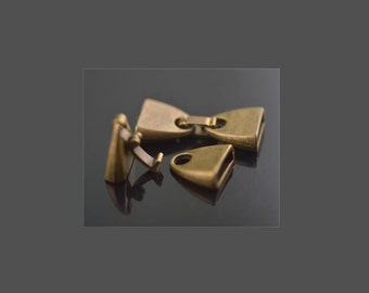 Fold Over Latch End Cap Clasp  ,  5 Sets Bronze 10x2mm Snap Clasp For 5mm 10mm Flat Leather Cord  , Leather Bracelet Clasp