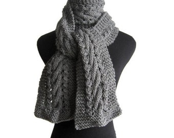 Grey Knit Scarf, Cable and Lace Vegan Scarf, Knit Mens Scarf, Knitwear, The Stef Scarf, Winter Scarf, Womens Scarf, Grey Scarf