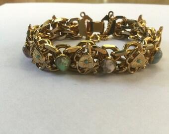 Vintage Cabochon & Turquoise Bead Hearts Link Bracelet 1960s