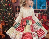 Girls Christmas Patchwork Dress, sizes 6 months to 8 years, by SunLoveShirts