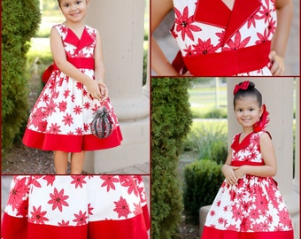 Girls Poinsettia Christmas Holiday Dress, sizes 2T to 10, by SunLoveShirts