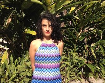 Zig Zag Knit Purple Blue Summer Dress Small Medium Pattern Print Tie Neck Halter Knee Length