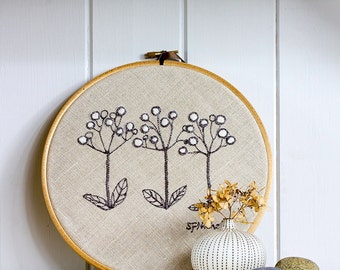 Botanical Embroidery Art Picture Seed Heads in Grey & Black