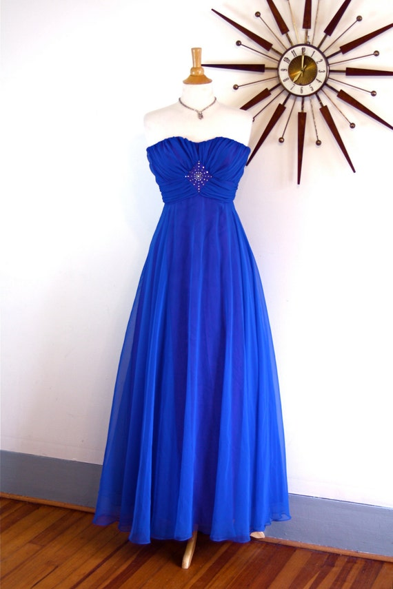 Vintage 60s Royal Blue Chiffon Maxi Dress Cocktail Party Strapless Grecian Goddess Draped Beaded Rhinestone 60s Formal Wear Long Prom Gown