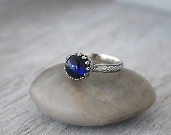 Smooth Blue Sapphire Ring - Sterling Silver Band - Handcrafted Artisan Silver Ring  - Sterling Silver Sapphire Ring - September Birthstone