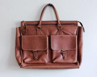 Vintage Brown Distressed Leather Briefcase