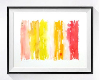 1. Original Watercolor Abstract Painting / Modern artwork Color field orange red / Original colorful abstract art / Home Wall decor / 15x20