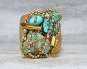 Turquoise & Gold Cuff  - Wrapped Turquoise Stones with chain and rhinestones on Gold Plated Cuff 4122b