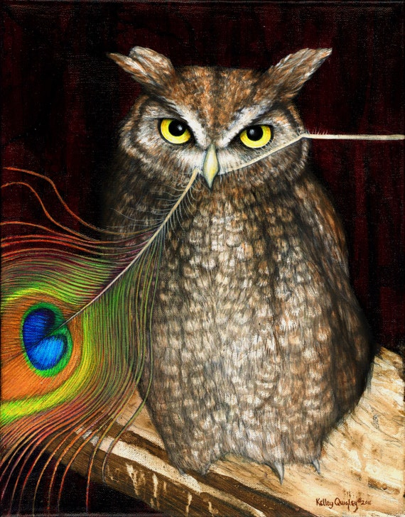 Cock-Eating Night Owl 2011, fine art print of original acrylic and oil on canvas by Kelley Quigley