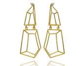 Long Geometric Earrings, Dangle Geometric Earrings, Brass Geometric Earrings, Gifts for Her, Bridal Earrings, Holiday Gift