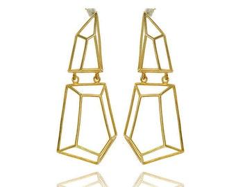 Long Geometric Earrings, Dangle Geometric Earrings, Brass Geometric Earrings, Gifts for Her, Bridal Earrings, Holiday Gift