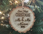 Personalized Wood Christmas Ornament Wedding Gift Bridal Shower Christmas Present First Christmas As Mr & Mrs (NVMHDAY2025)