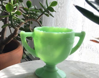 Vintage McKee Jadeite Laurel Sugar Bowl Footed FireKing SALE