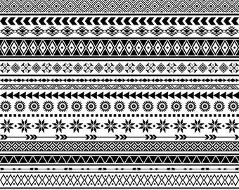 Tribal Borders Clipart Ethnic Borders Clip Art Native American Borders African Borders Aztec Borders Geometric Borders Clipart