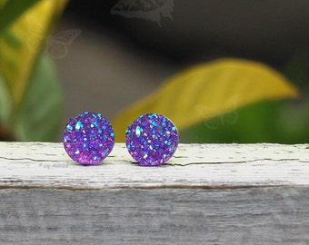 10mm Purple Glitter Stud Earrings on Stainless Steel or Titanium Posts, Minimalist, Add Some Sparkle!