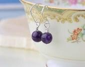 February Birthstone Earrings, Amethyst Earrings Silver, Amethyst Dangle Earrings, Amethyst Gemstone Earrings Dainty Earrings