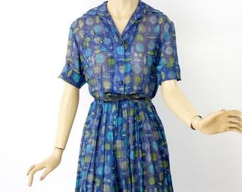 Vintage 50s Day Dress Sheer Blue Cotton Print Shirtwaist Dress w Full Skirt Bust 38