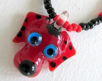 Little girls jewelry dog necklace kids jewelry fun jewelry toddler necklace animal jewelry red dog pendant stretch necklace
