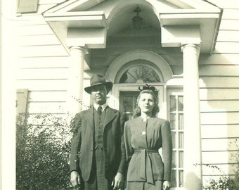 1940s Happy Couple Standing Large White House Husband Wife 40s Fashion Vintage Black and White Photo Photograph