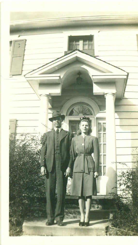 1940s Happy Couple Standing Large White House Husband Wife 40s 1940s White House Scottie