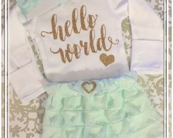 FREE GIFT, Hello World, OUTFIT,  Baby Girl Newborn Bodysuit, Ruffle Skirt, Tutu, Mint, Headband, Gold Glitter, Hearts, Coming Home Outfit